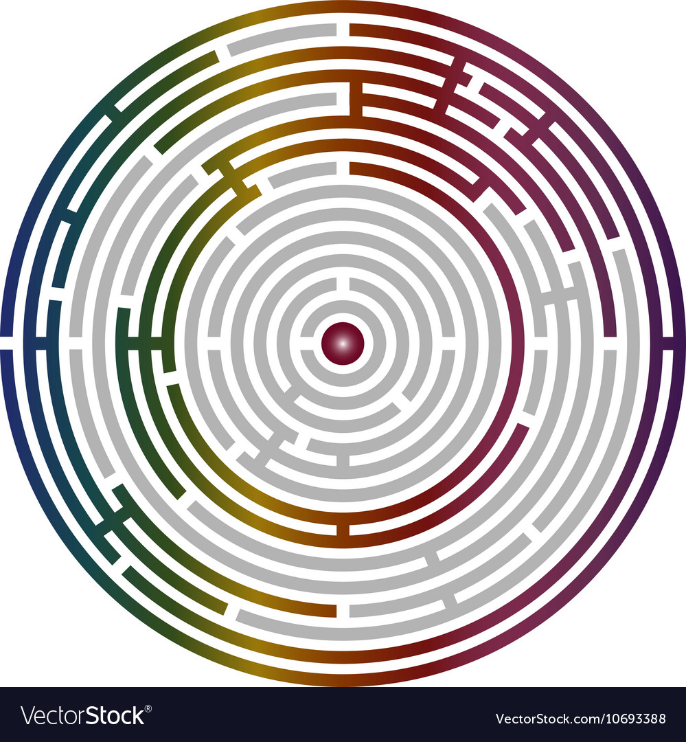 Circular labyrinth abstract logic puzzle vector
