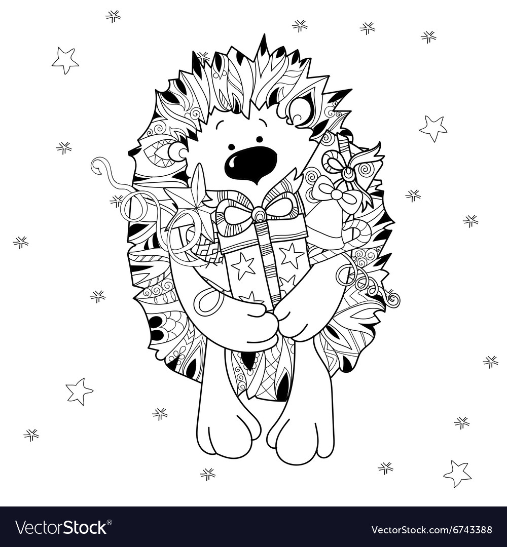 Doodle hand drawn xmas hedgehog with gift box vector