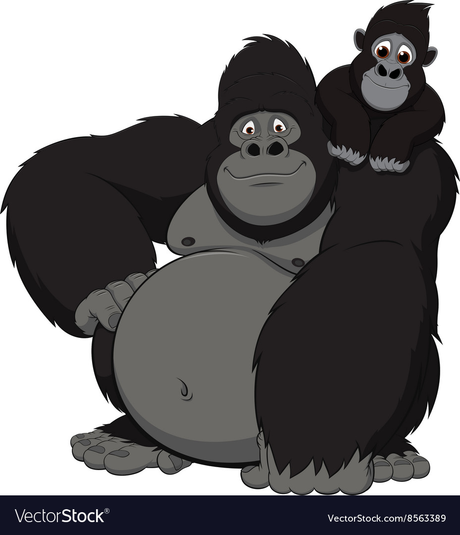 Gorilla with cub vector
