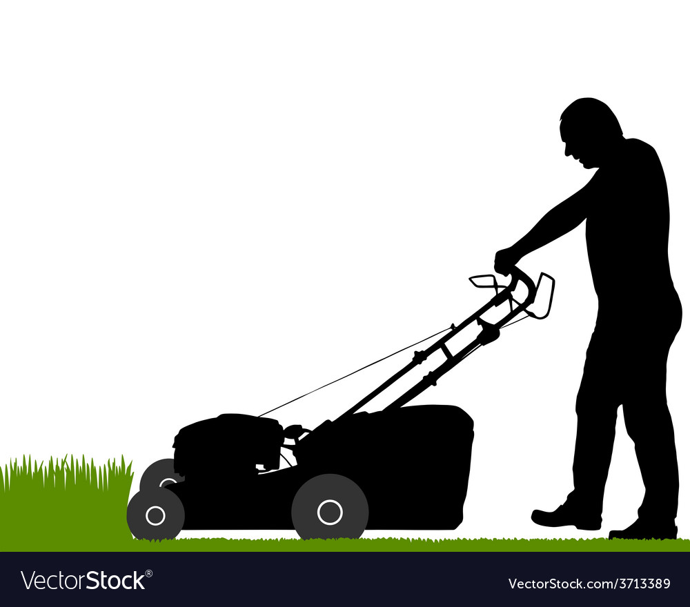 Man with lawnmower vector