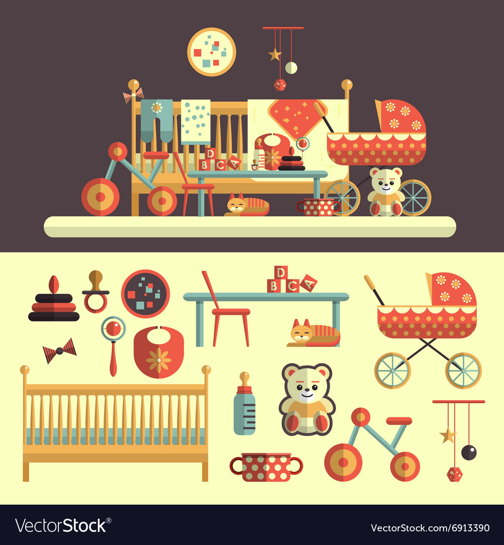 Interior of baby room and toys set for kids vector