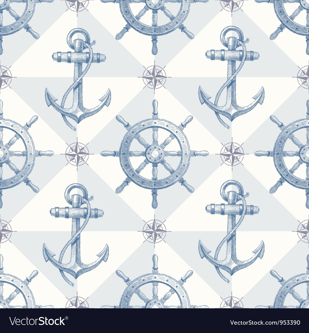 Seamless hand drawn nautical background vector
