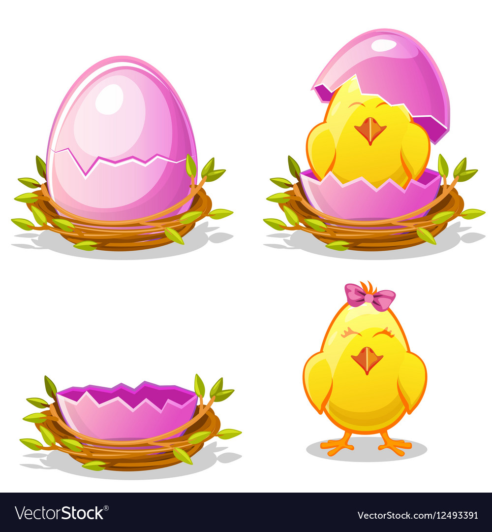 Cartoon funny chicken and pink egg in a nest vector