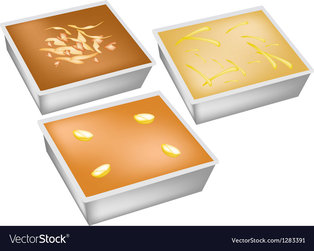 Delicious egg custard in various flavours vector