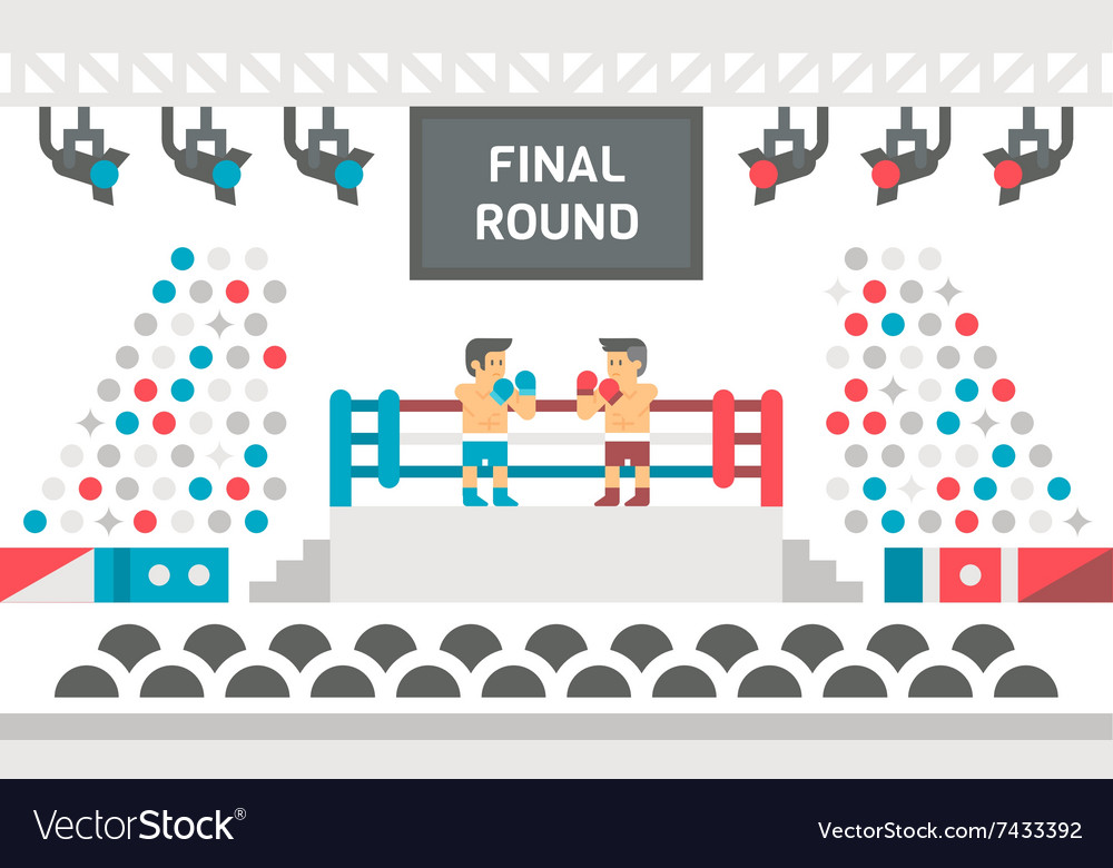 Flat design boxing stage fight vector