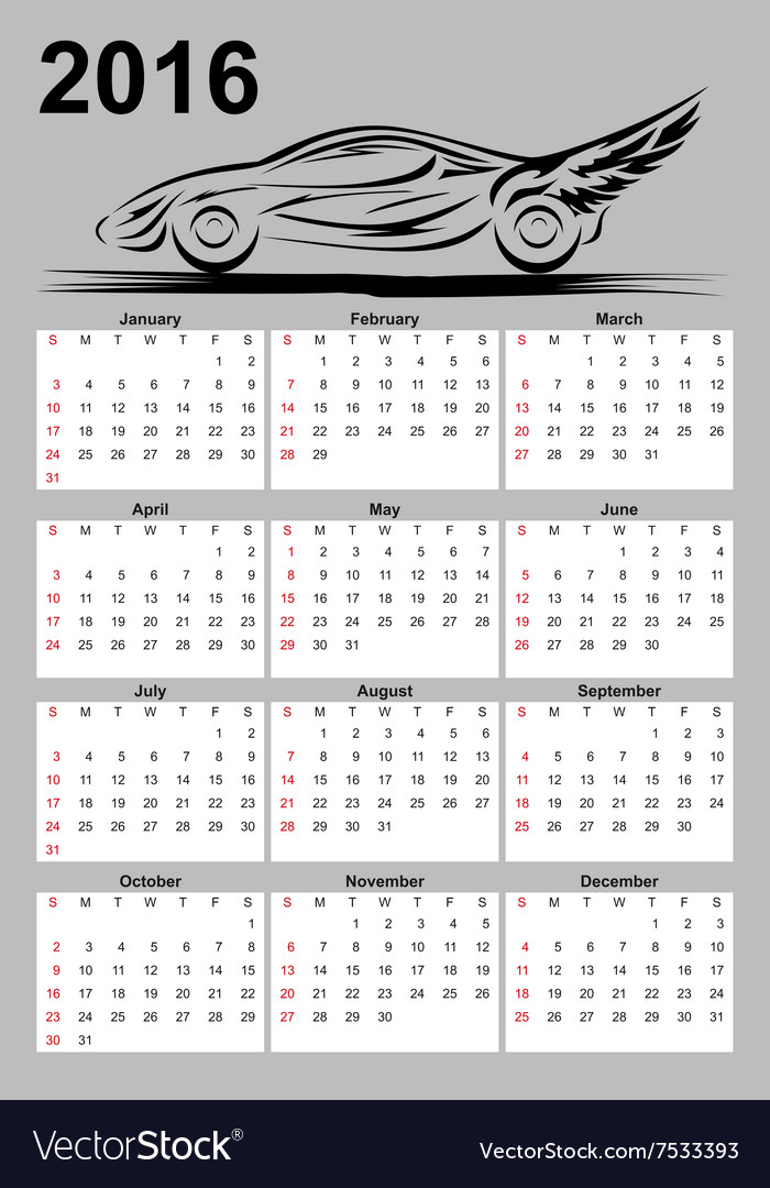 Calendar with car vector