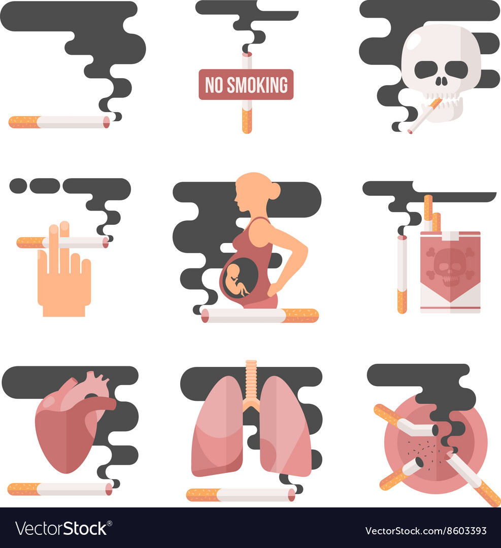 Concept of nicotine consumption smoking pregnant vector