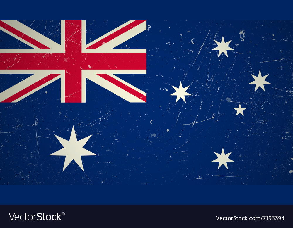 Australian flag with grunge texture vector