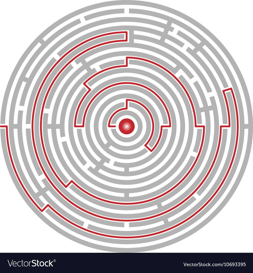 Circular labyrinth abstract logic puzzle path to vector
