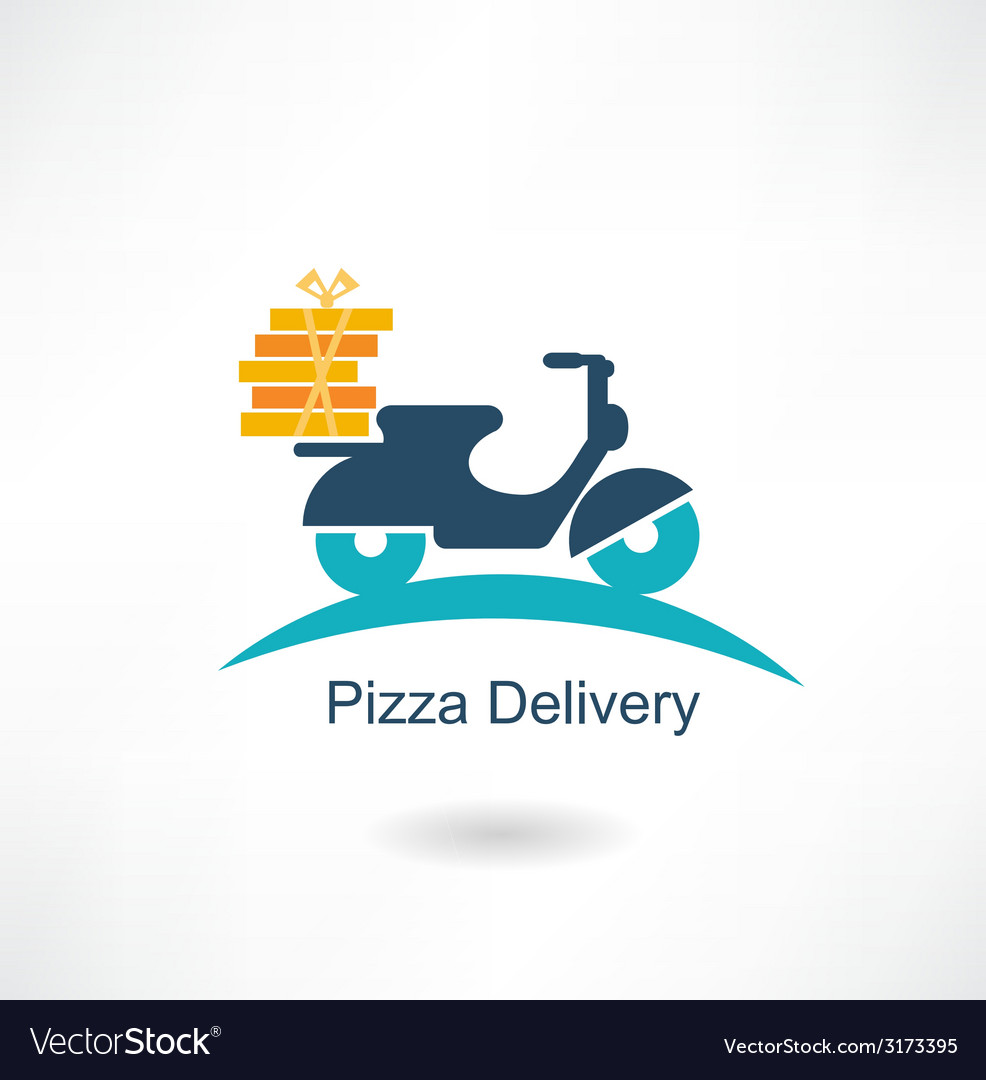 Scooter carries pizza vector