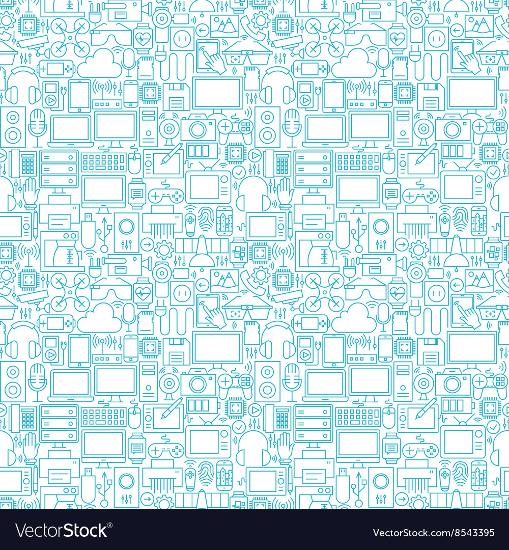 Thin line technology gadgets white seamless vector