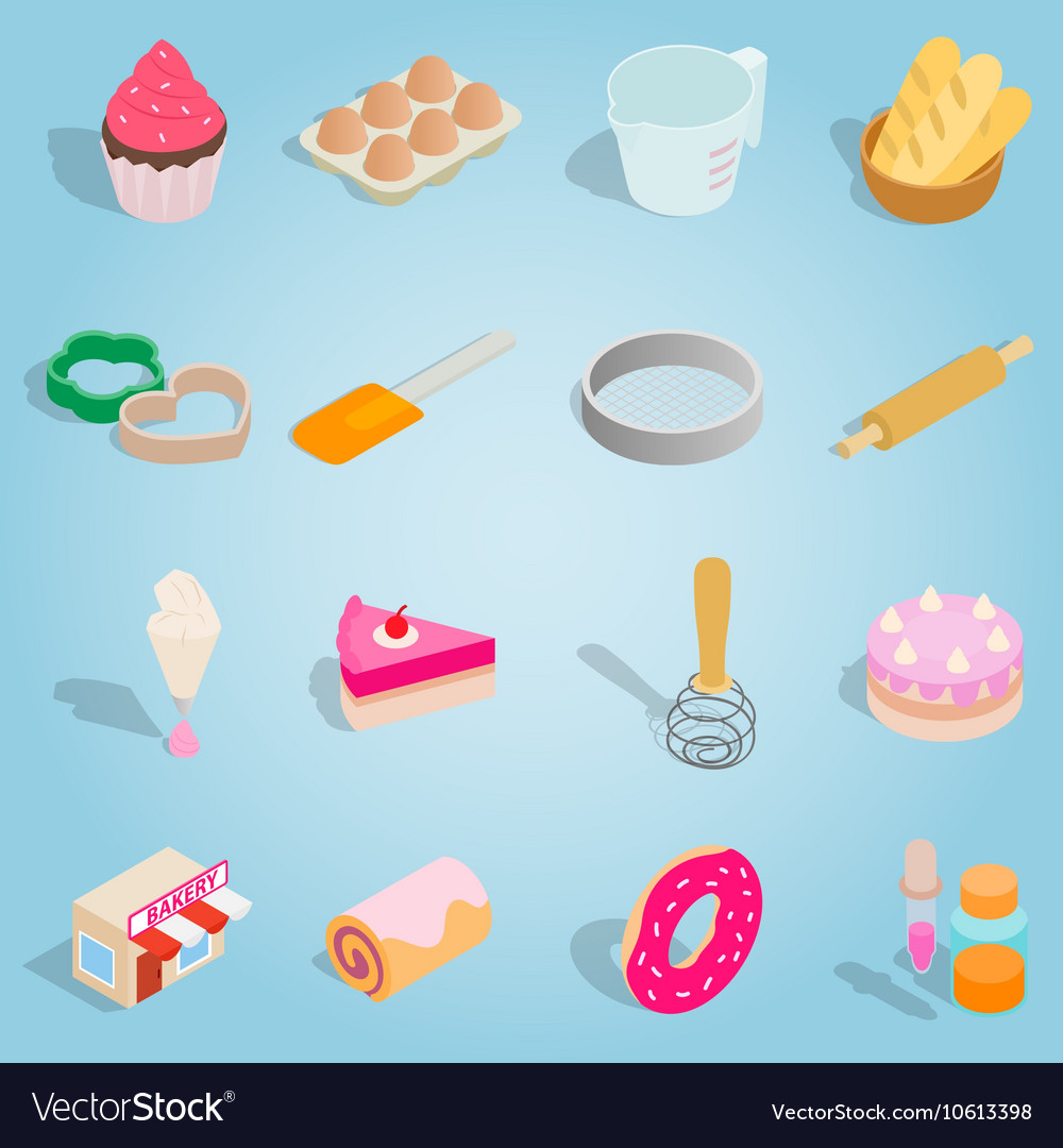 Bakery isometric set icons vector