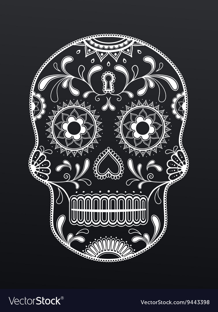 Blank and white sugar skull day of the dead vector