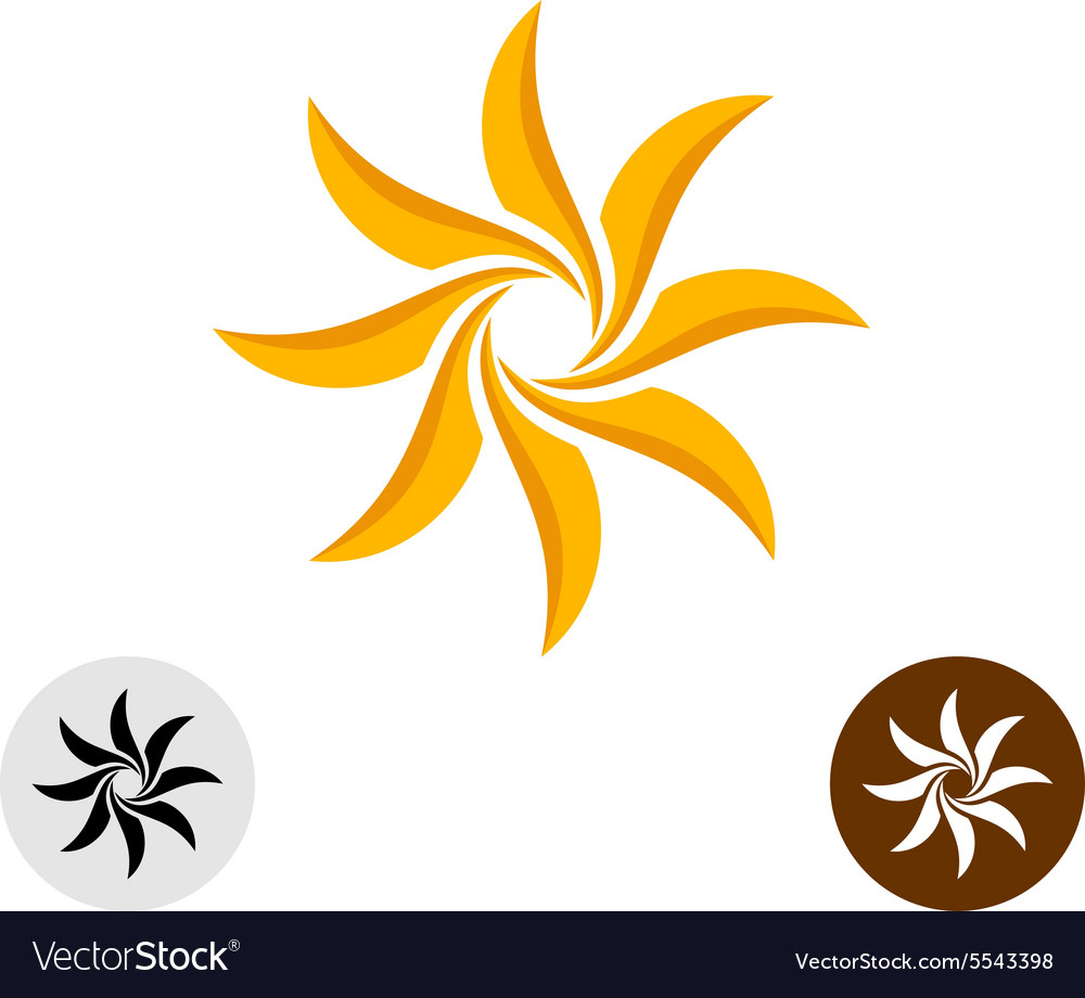 Orange elegant sun logo eight sharp blades vector