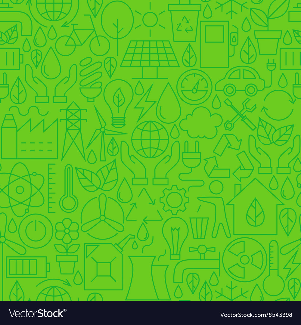 Thin ecology environment line seamless green vector