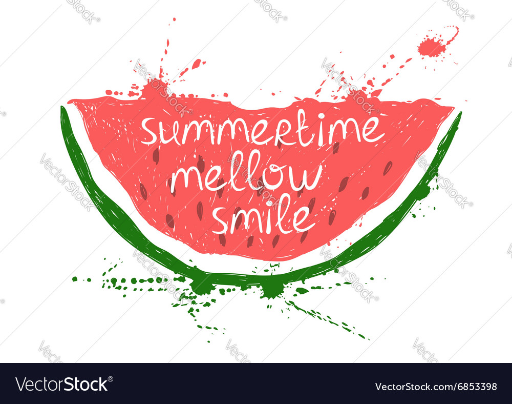 With isolated red slice of watermelon vector
