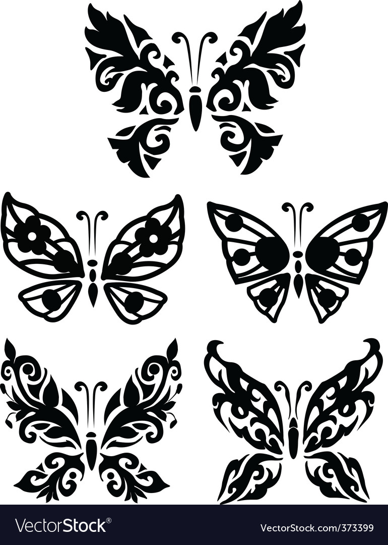 Silhouette butterfly collection vector