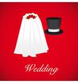 wedding card wedding veil and groom hat vector image