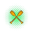 Paddle icon comics style vector image