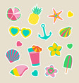 collection of summer stickers isolated vector image