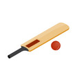 Cricket bat and ball icon isometric 3d style vector image