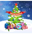 decorated christmas tree with happy new year vector image