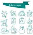 Object Christmas set icons of vector image
