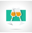 Two champagne glasses flat icon vector image