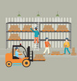 workers of warehouse load boxes vector image