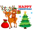 Christmas card template with bear and reindeer vector image