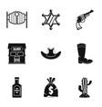american cowboy icon set simple style vector image vector image