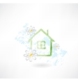House and flower grunge icon vector image vector image