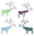 Deers with different pattern set for Christmas vector image