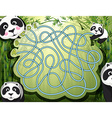 Maze game with panda and bamboo vector image vector image