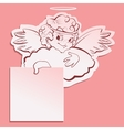 Angel holding a sheet of paper vector image