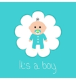 Baby shower card Its a boy Flower frame Flat vector image