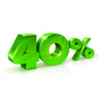 glossy green 40 forty percent off sale isolated vector image