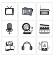 Media icons set - video news music TV recording vector image