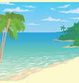 sandy beach with palms tropical ocean landscape vector image