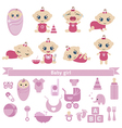 Set of cute baby girls vector image