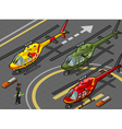 Isometric Red Helicopter Landing in Three Livery vector image vector image