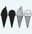 Sorts of Ice Cream in a waffles vector image vector image