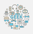 geek round colorful vector image