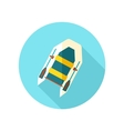 Inflatable boat flat icon with long shadow vector image