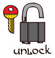 Lock and key clipart color on a white background vector image