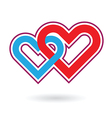 two hearts love vector image