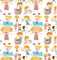 Seamless background design with kids playing vector image