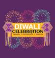 diwali festival celebration banner with fireworks vector image