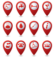 Set of 12 Services and Entertainment REDpointer vector image
