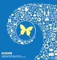 butterfly sign symbol Nice set of beautiful icons vector image